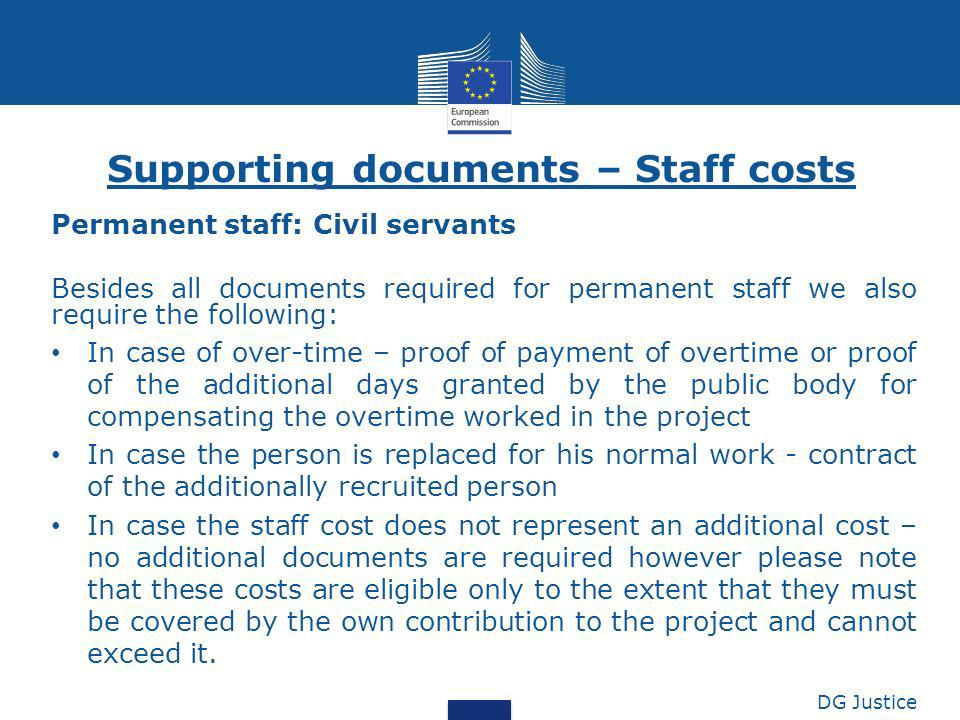 Supporting documents – Staff costs
