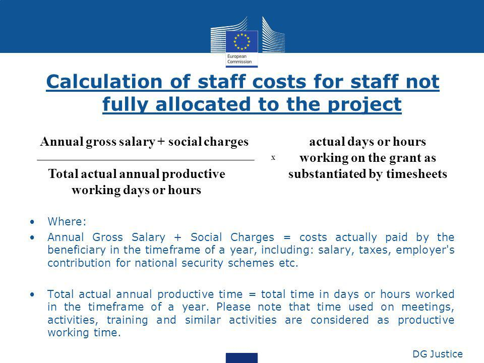 Calculation of staff costs for staff not fully allocated to the project