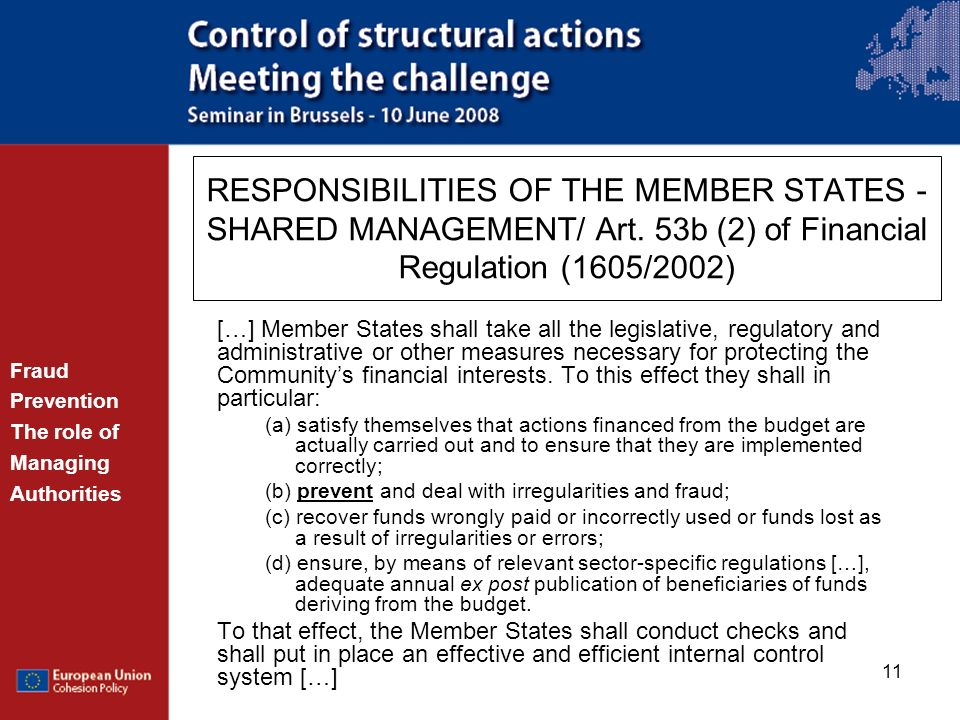 RESPONSIBILITIES OF THE MEMBER STATES - SHARED MANAGEMENT/ Art
