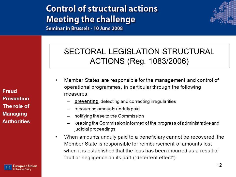 SECTORAL LEGISLATION STRUCTURAL ACTIONS (Reg. 1083/2006)