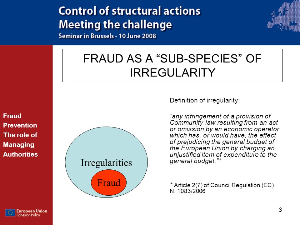 FRAUD AS A SUB-SPECIES OF IRREGULARITY