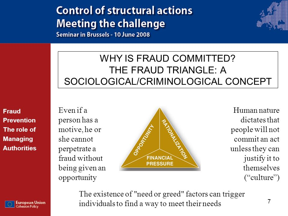 WHY IS FRAUD COMMITTED THE FRAUD TRIANGLE: A SOCIOLOGICAL/CRIMINOLOGICAL CONCEPT