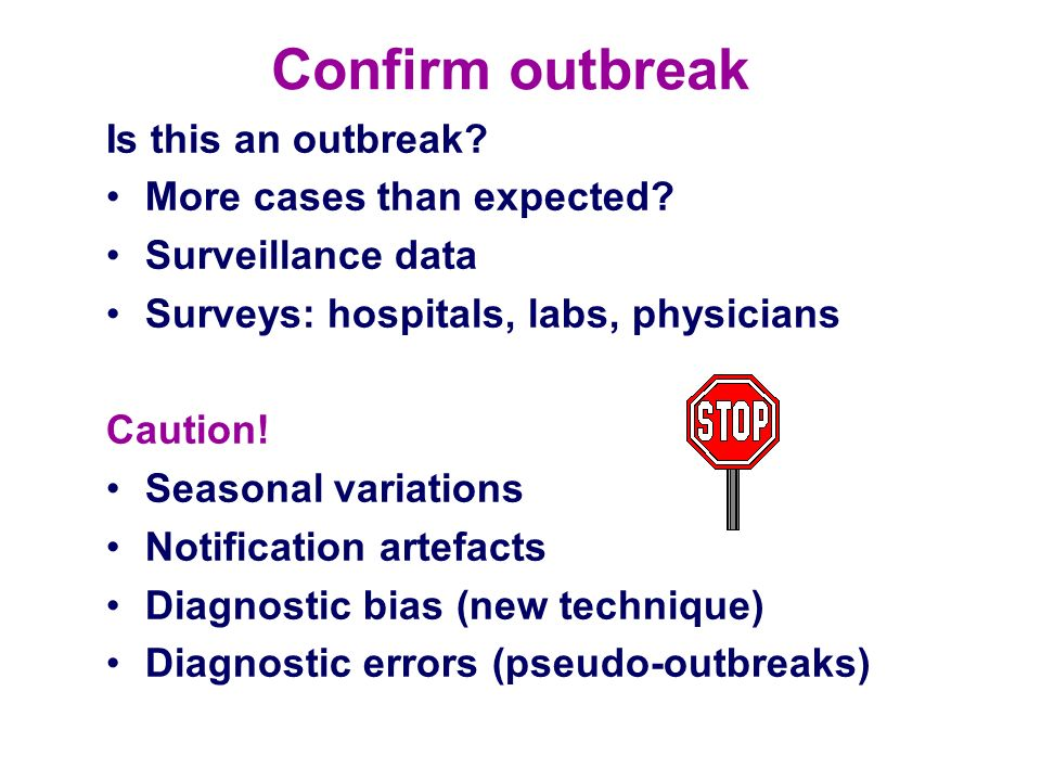 Confirm outbreak Is this an outbreak More cases than expected