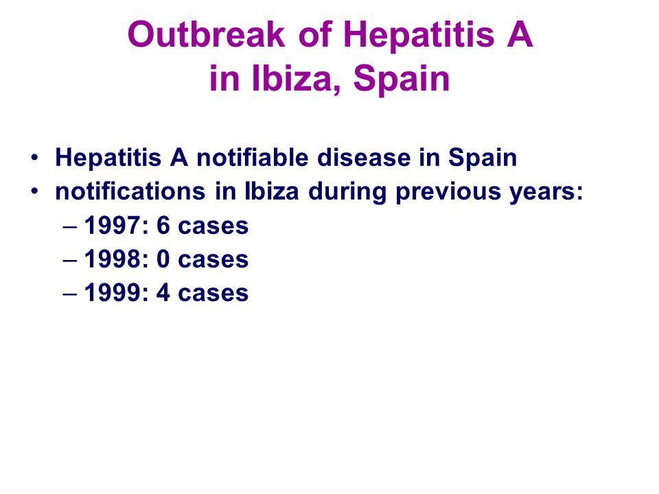 Outbreak of Hepatitis A in Ibiza, Spain