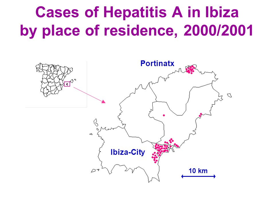 Cases of Hepatitis A in Ibiza by place of residence, 2000/2001