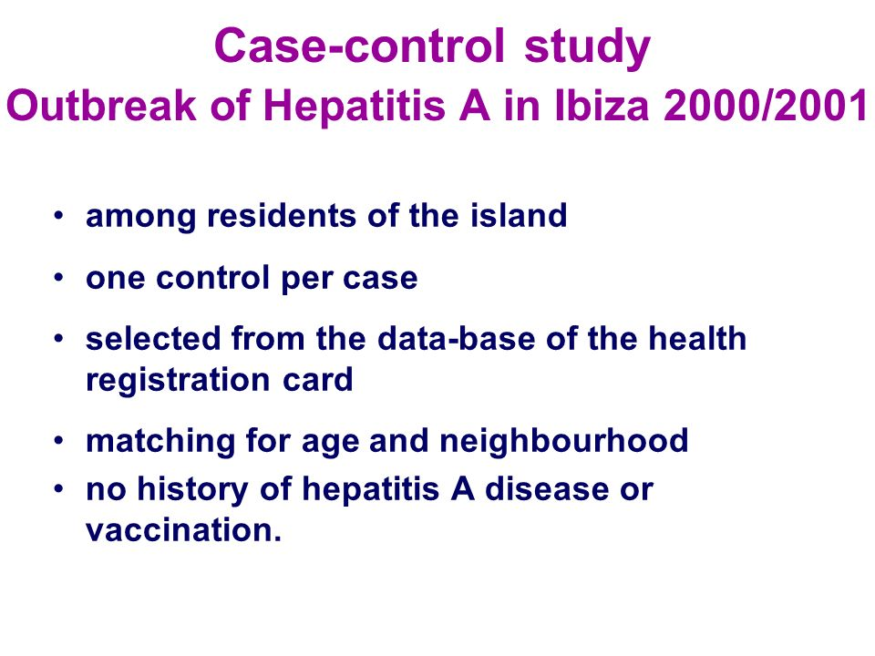 Case-control study Outbreak of Hepatitis A in Ibiza 2000/2001