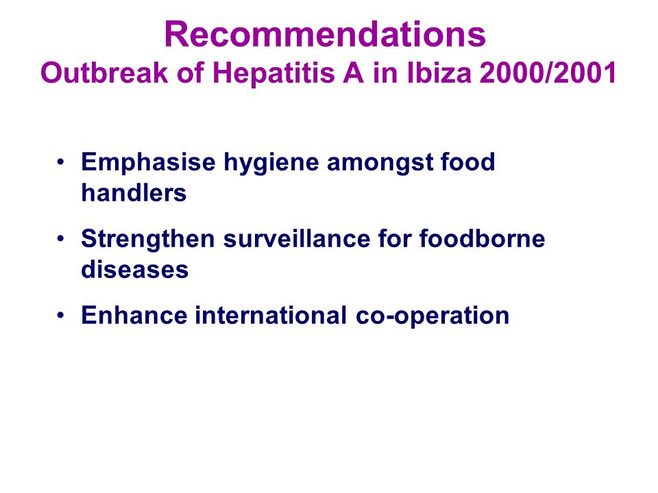Recommendations Outbreak of Hepatitis A in Ibiza 2000/2001