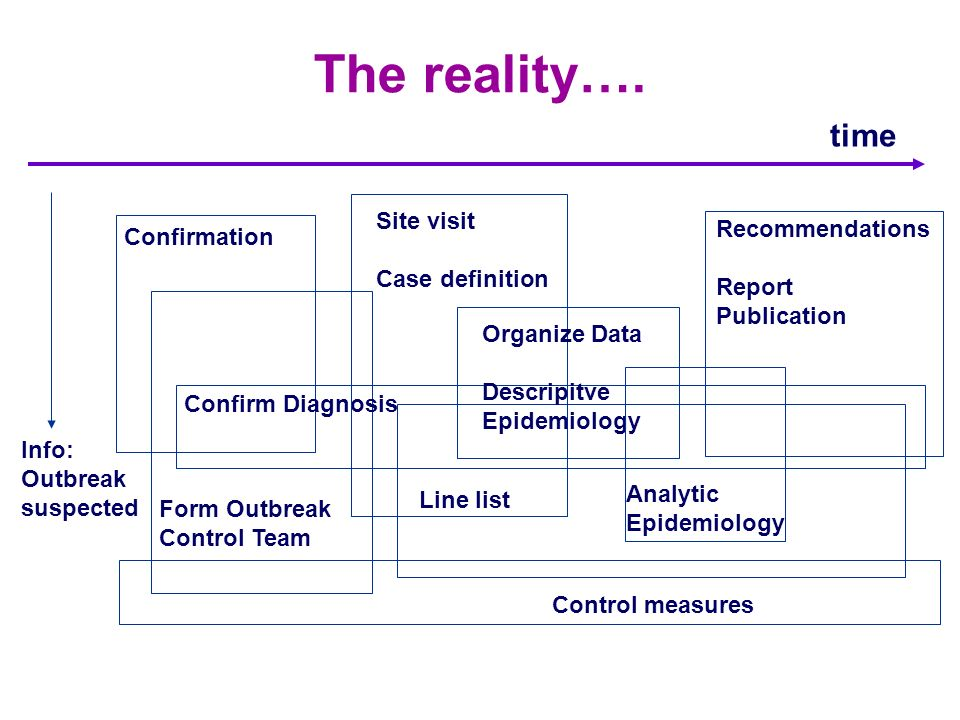 The reality…. time Site visit Case definition Recommendations Report