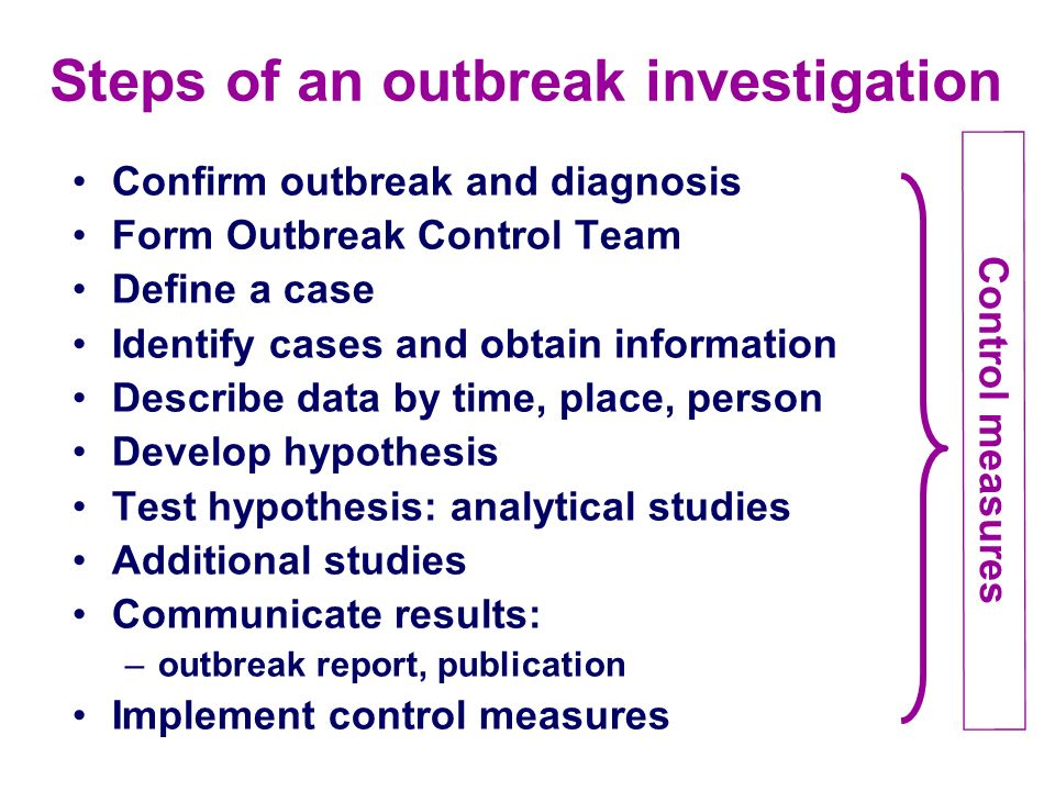 Steps of an outbreak investigation