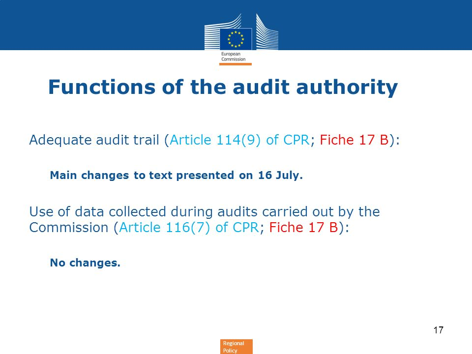 Functions of the audit authority