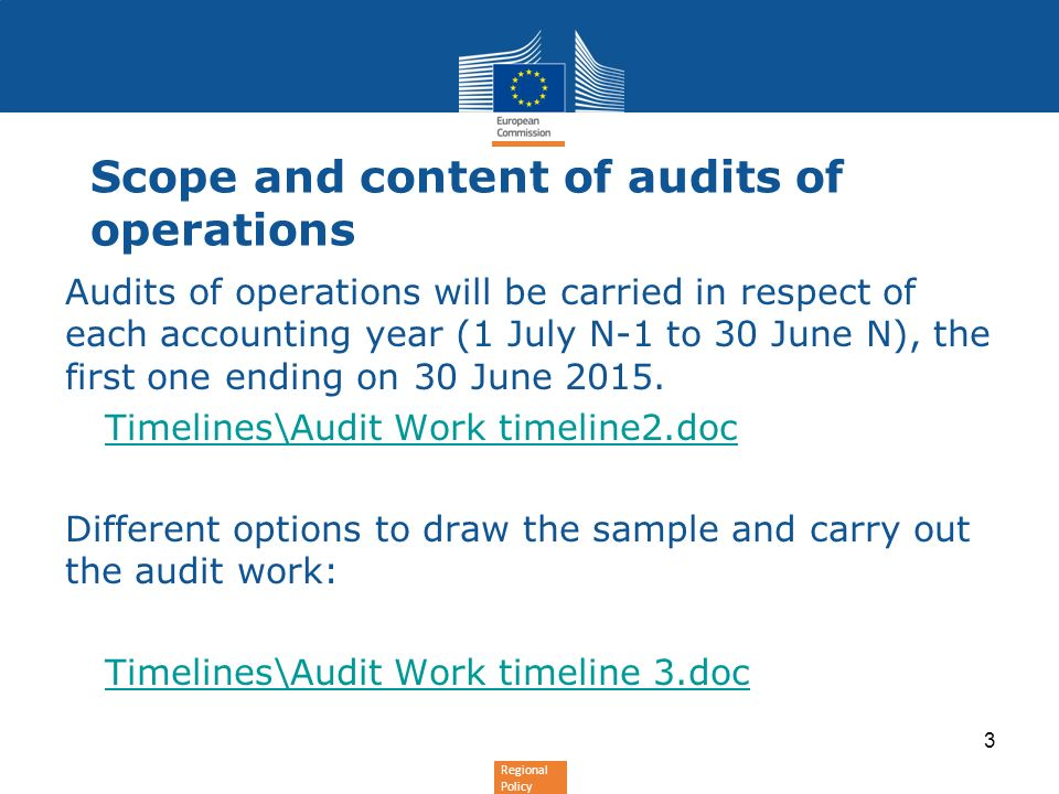 Scope and content of audits of operations