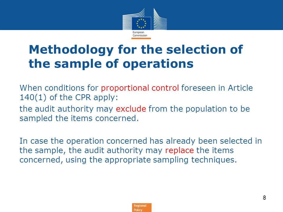 Methodology for the selection of the sample of operations
