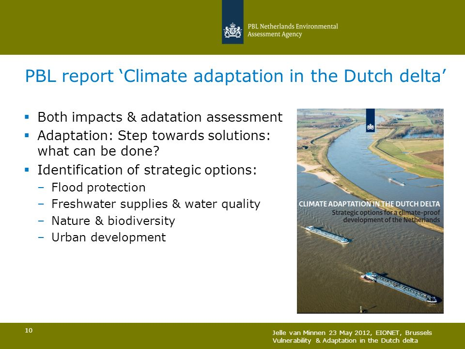 PBL report 'Climate adaptation in the Dutch delta'
