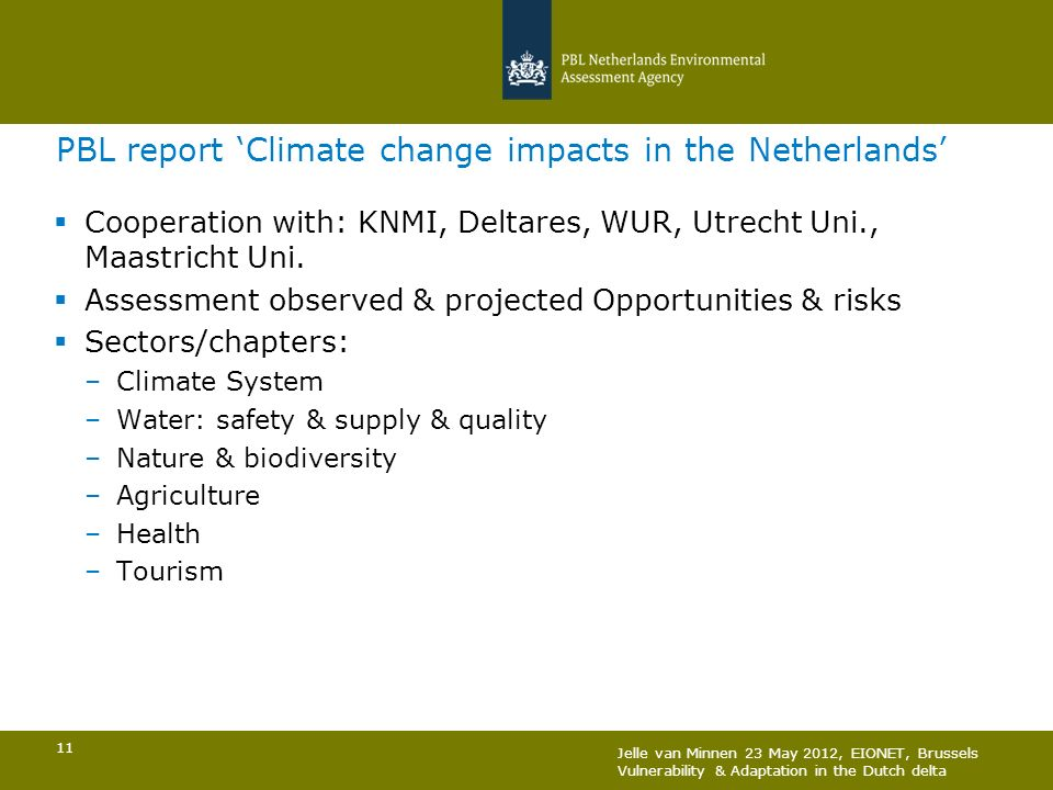 PBL report 'Climate change impacts in the Netherlands'