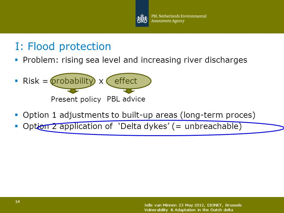 I: Flood protection Problem: rising sea level and increasing river discharges. Risk = probability x effect.