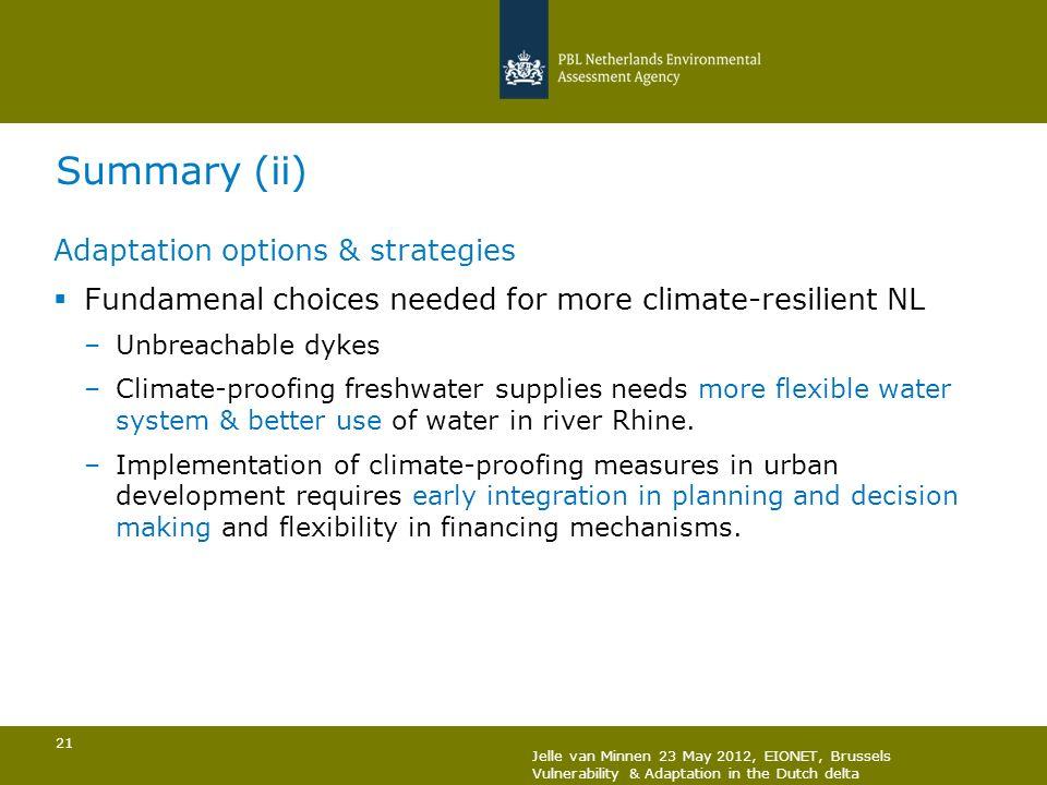 Summary (ii) Adaptation options & strategies