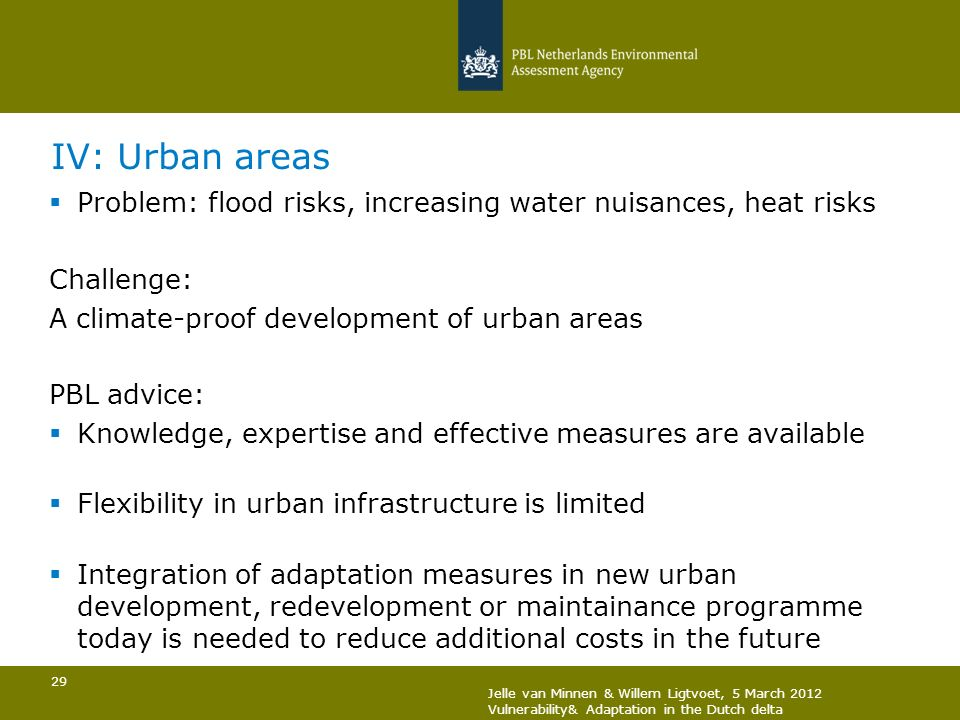 IV: Urban areas Problem: flood risks, increasing water nuisances, heat risks. Challenge: A climate-proof development of urban areas.