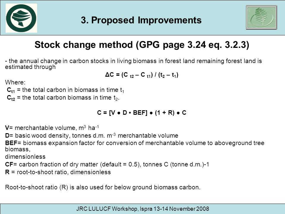 3. Proposed Improvements Stock change method (GPG page 3.24 eq )