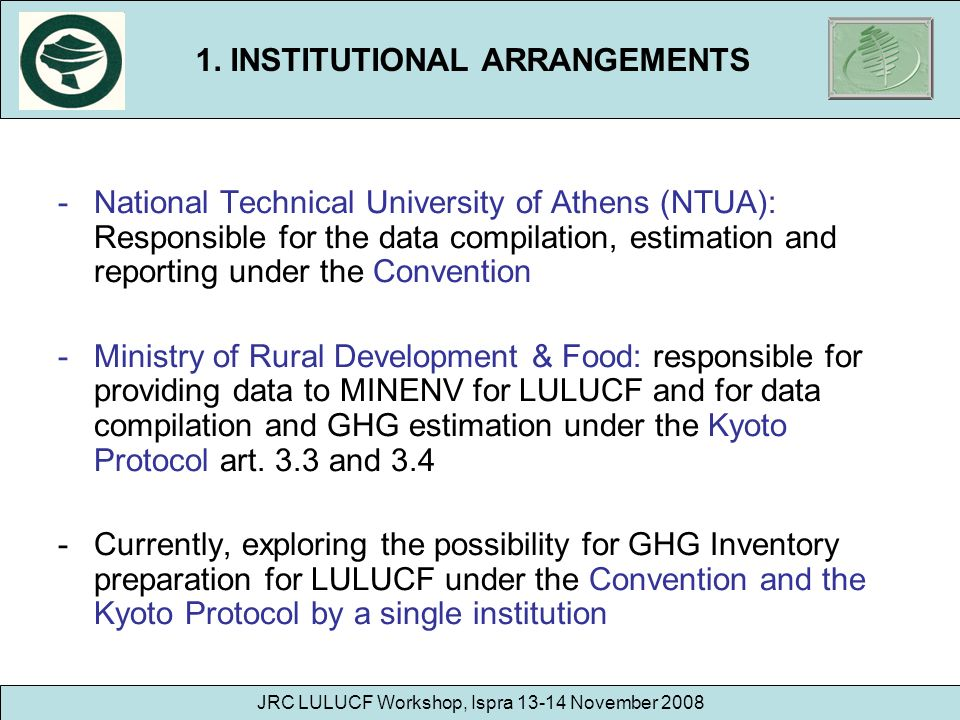 1. INSTITUTIONAL ARRANGEMENTS