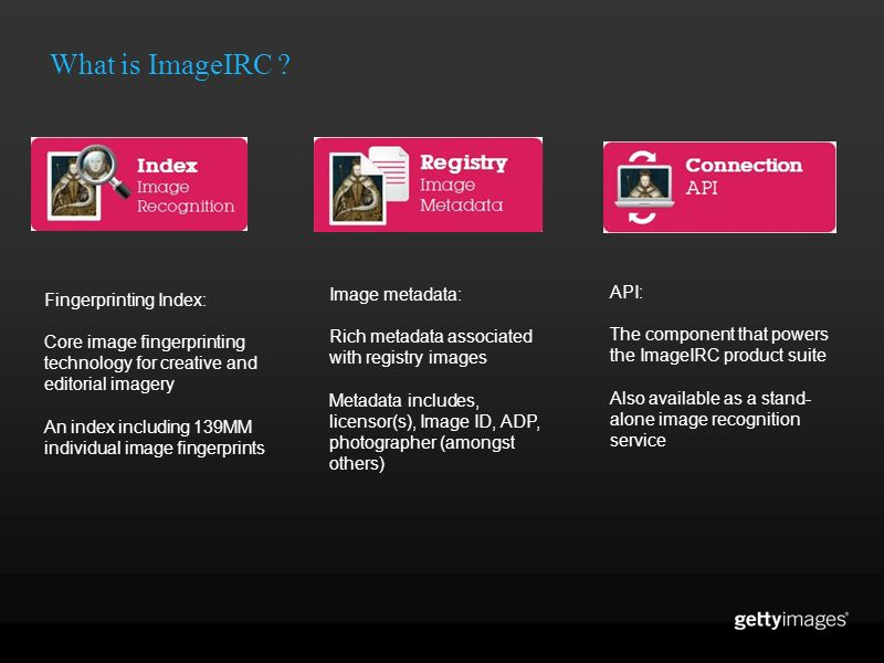What is ImageIRC Image metadata: API: Fingerprinting Index: