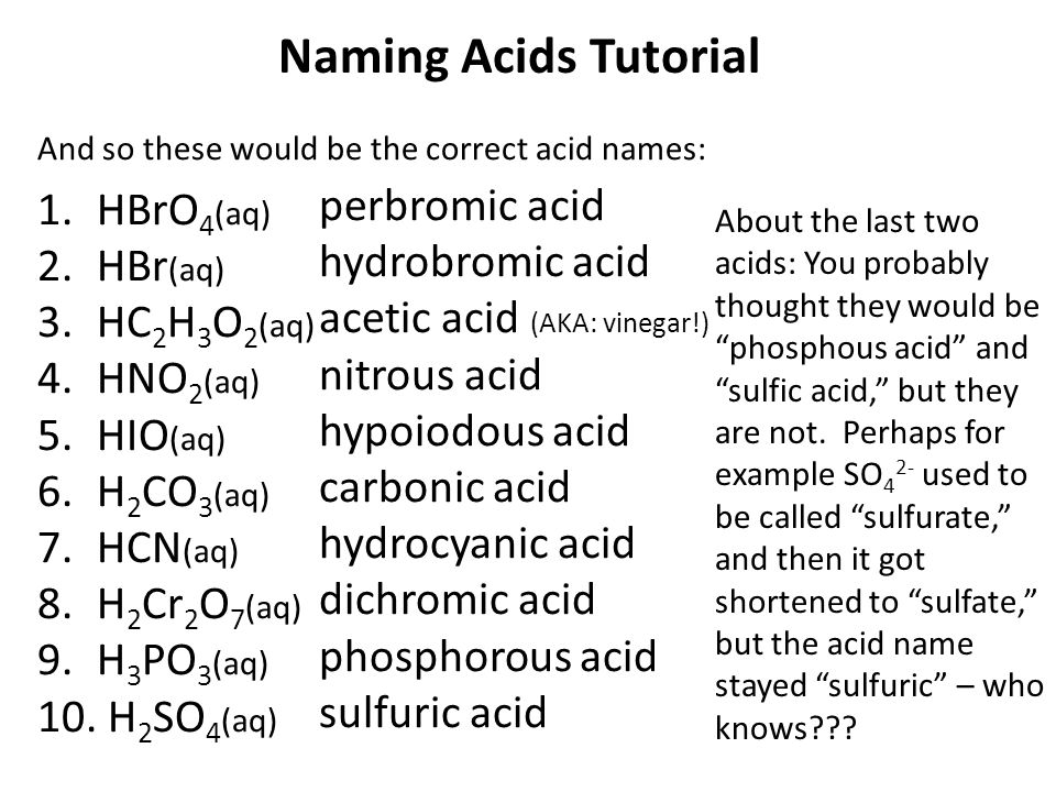 Naming Acids Tutorial Acids are a group of compounds that ...