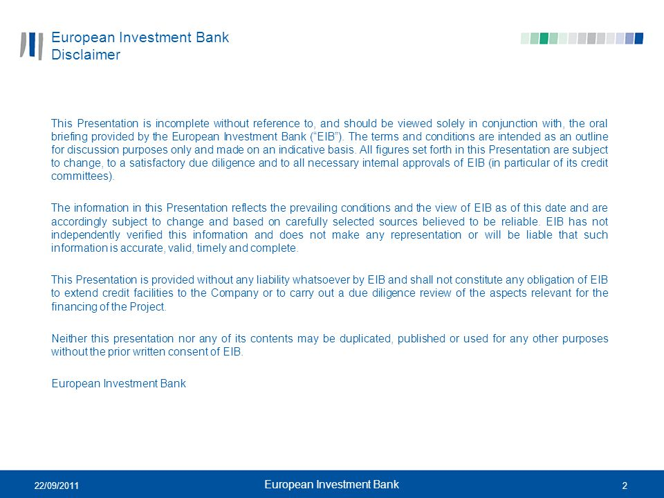 European Investment Bank Disclaimer