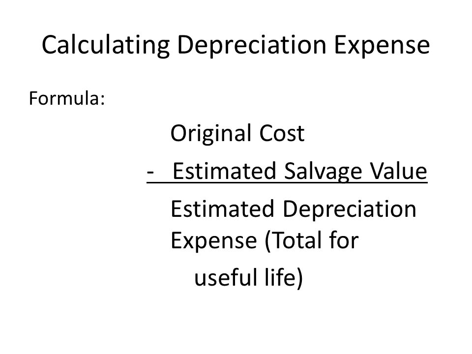 annual depreciation expense This calculator uses the straight-line method to compute the annual amount of depreciation on an asset, given the asset's original purchase price, salvage value, and number of years of useful life the straight-line depreciation method depreciates an asset by an equal amount for each year of the.
