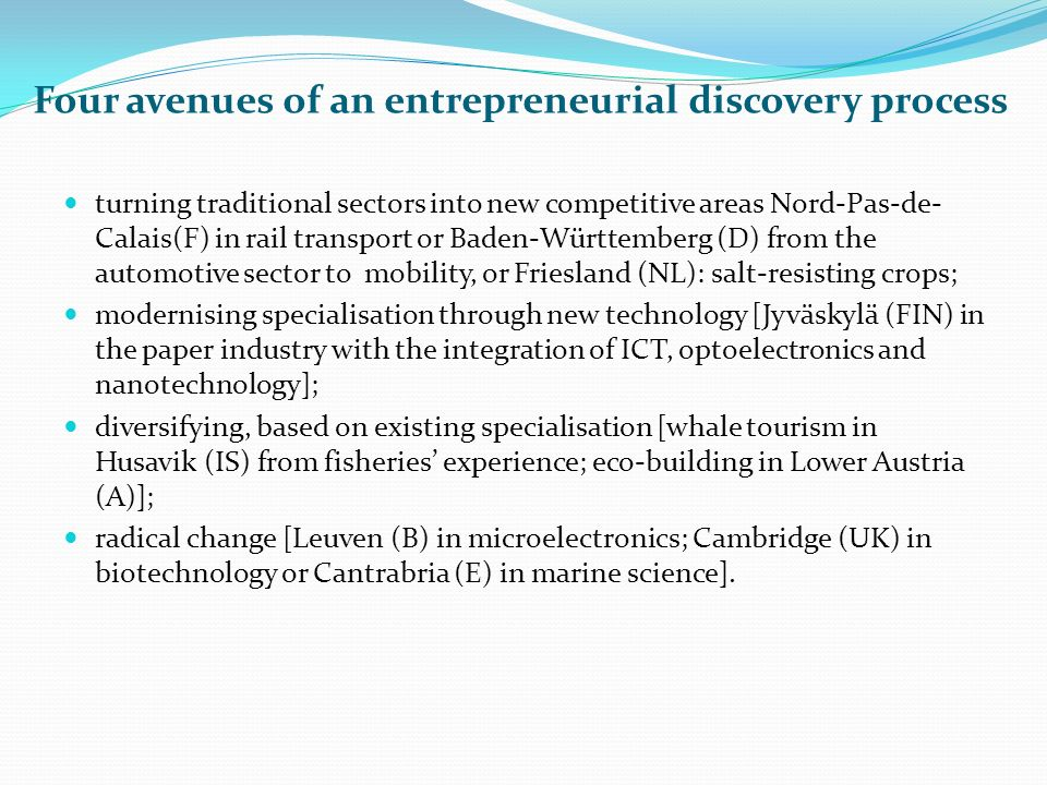 Four avenues of an entrepreneurial discovery process