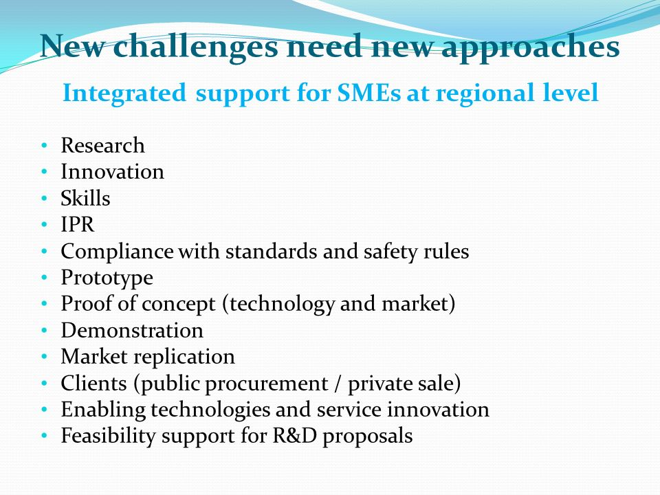 Integrated support for SMEs at regional level