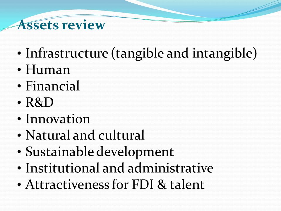 Assets review Infrastructure (tangible and intangible) Human Financial