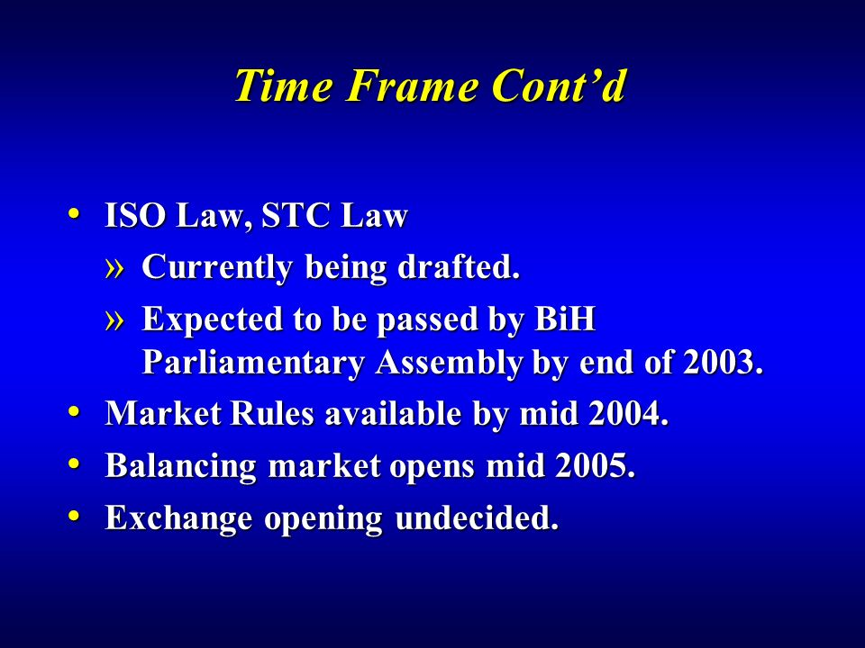 Time Frame Cont'd ISO Law, STC Law Currently being drafted.