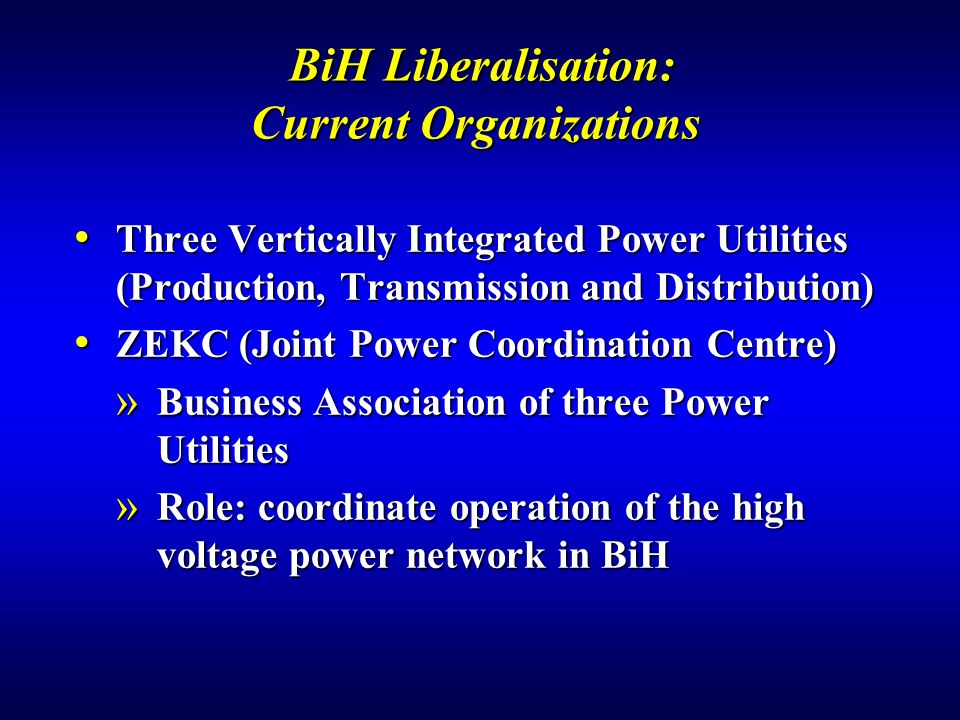 BiH Liberalisation: Current Organizations