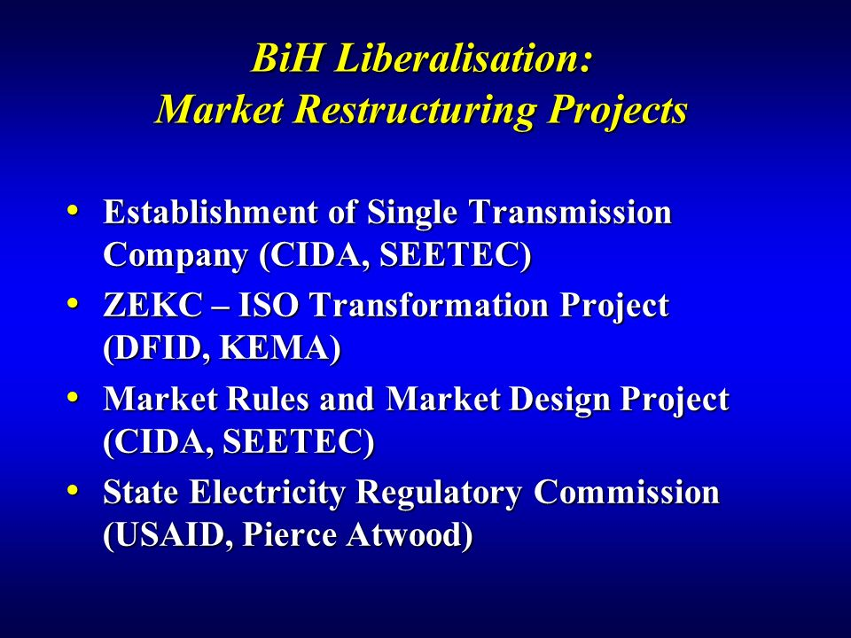 BiH Liberalisation: Market Restructuring Projects