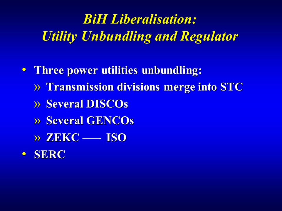 BiH Liberalisation: Utility Unbundling and Regulator