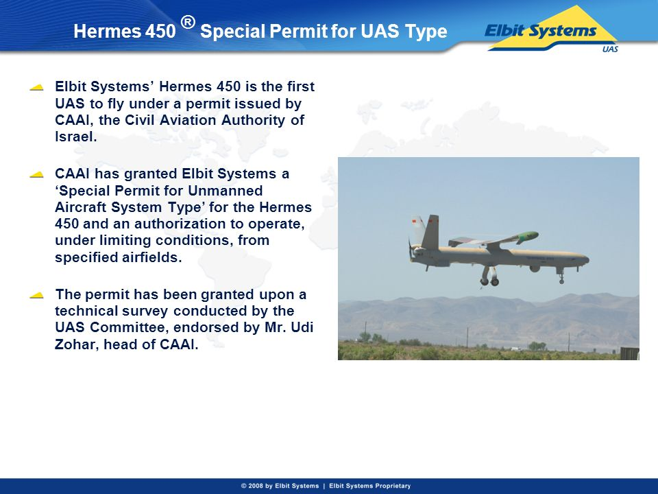Hermes 450 ® Special Permit for UAS Type