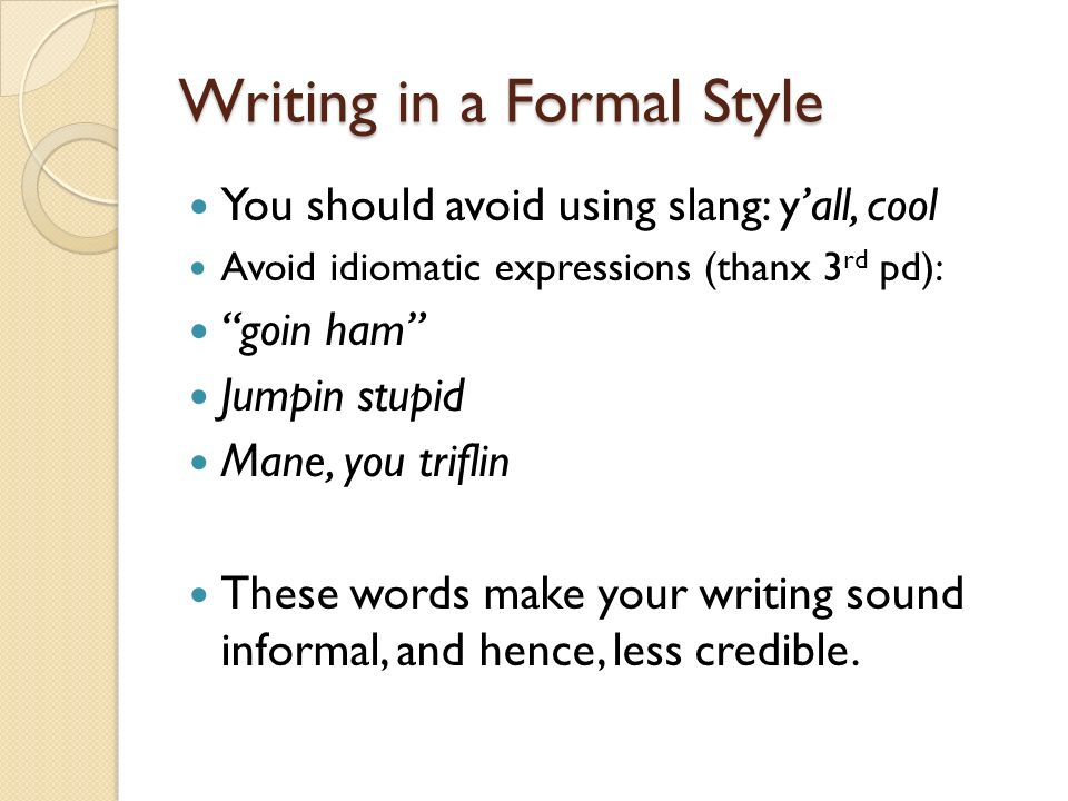 formal writing words