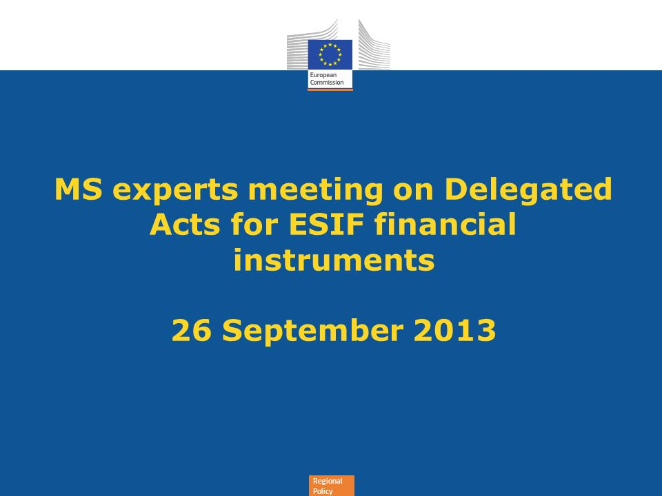 MS experts meeting on Delegated Acts for ESIF financial instruments 26 September 2013