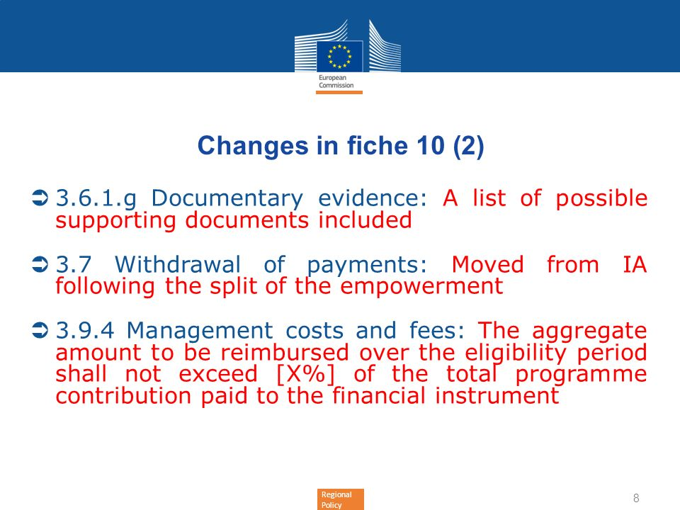 Changes in fiche 10 (2) g Documentary evidence: A list of possible supporting documents included.