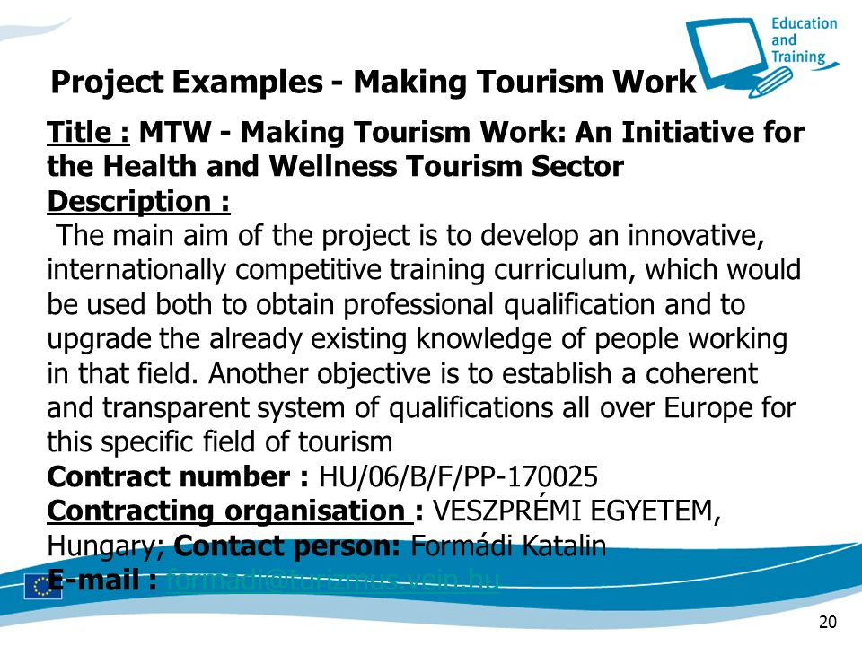 Project Examples - Making Tourism Work