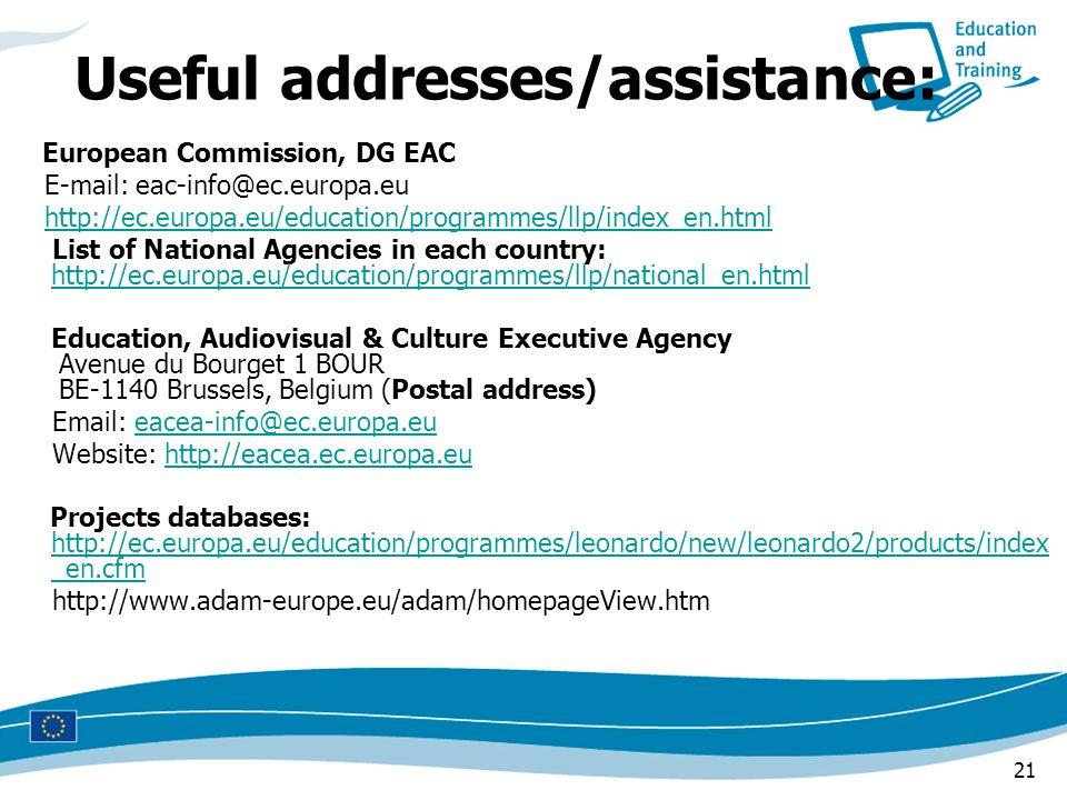 Useful addresses/assistance: