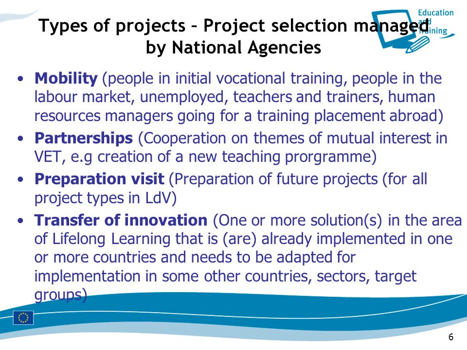 Types of projects – Project selection managed by National Agencies