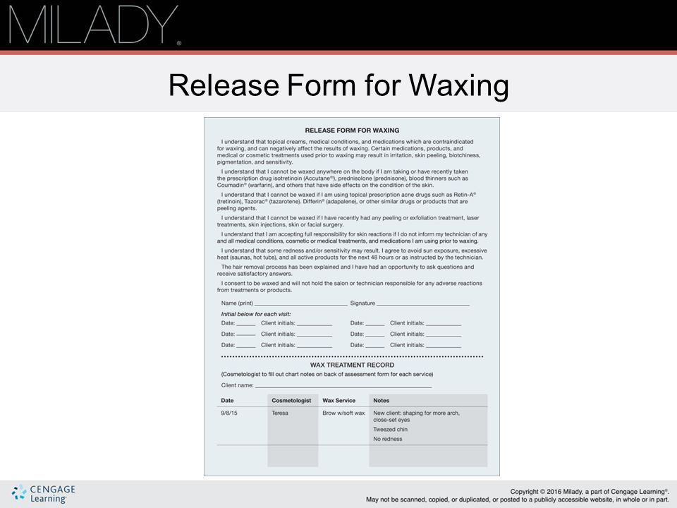 Waxing Release Form Dolapgnetband