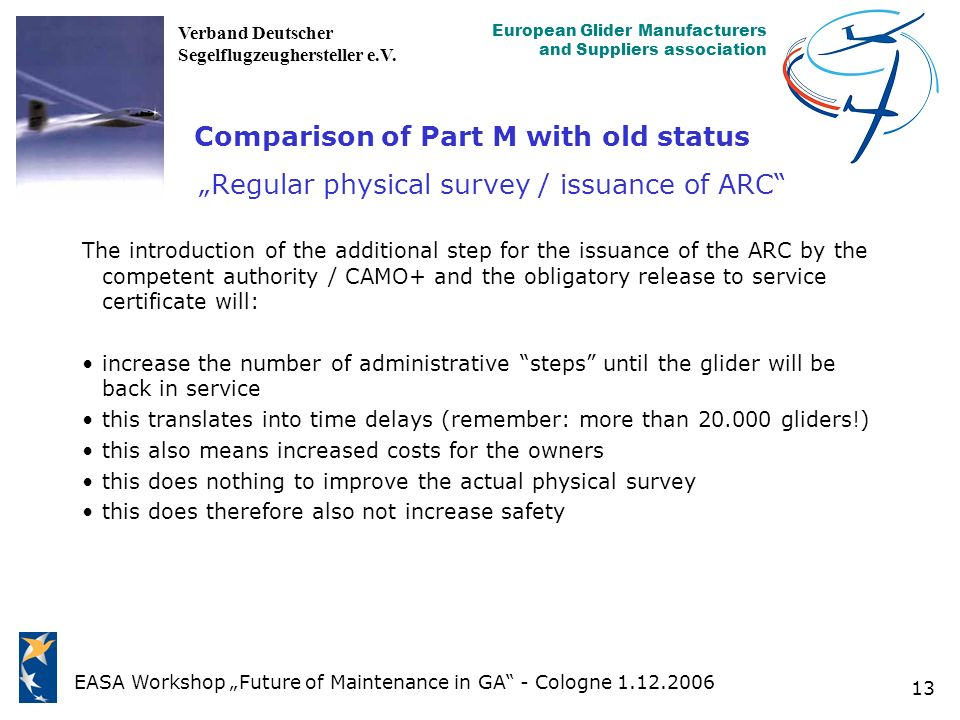 "Comparison of Part M with old status ""Regular physical survey / issuance of ARC"