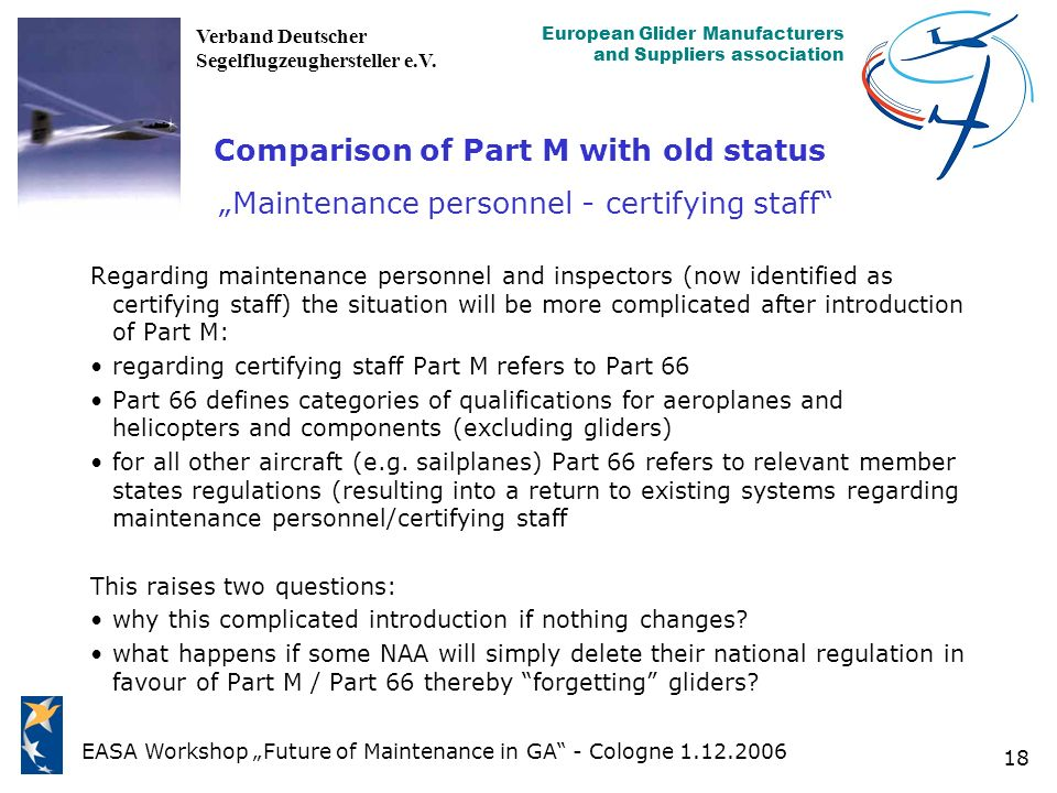 "Comparison of Part M with old status ""Maintenance personnel - certifying staff"
