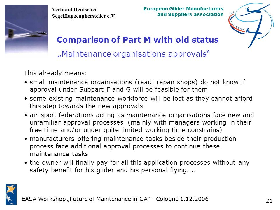 "Comparison of Part M with old status ""Maintenance organisations approvals"