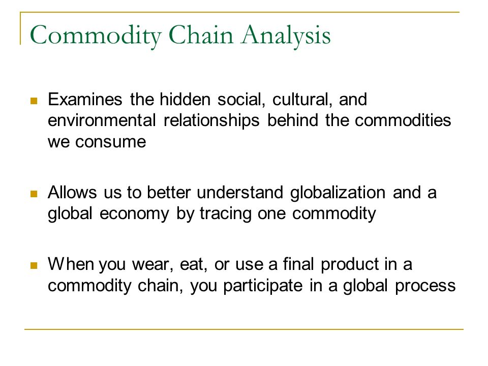 global soy commodity chain In 2012 we have started to work on a global ethnography of soy the starting point was argentina and a critical investigation of the soy commodity chain from the point of view of argentinian producers.