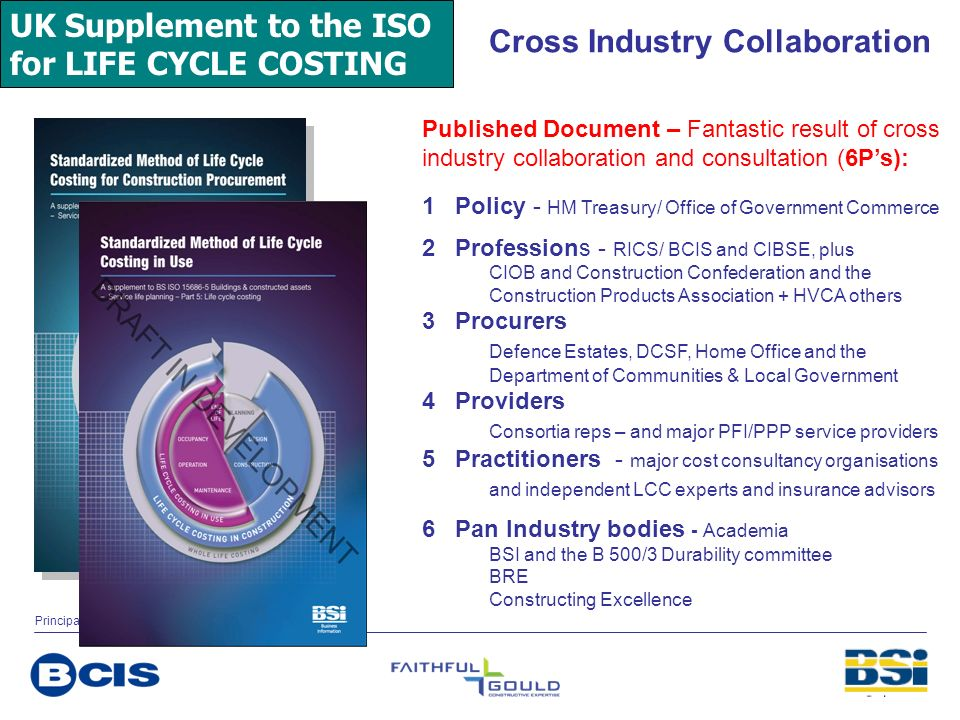 UK Supplement to the ISO for LIFE CYCLE COSTING