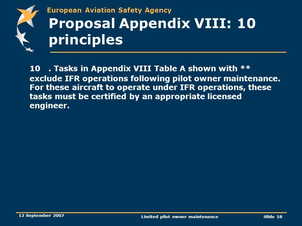 Proposal Appendix VIII: 10 principles
