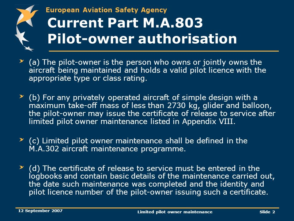 Current Part M.A.803 Pilot-owner authorisation
