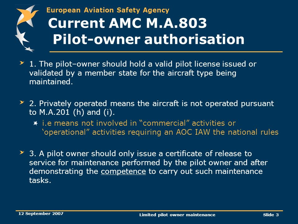 Current AMC M.A.803 Pilot-owner authorisation